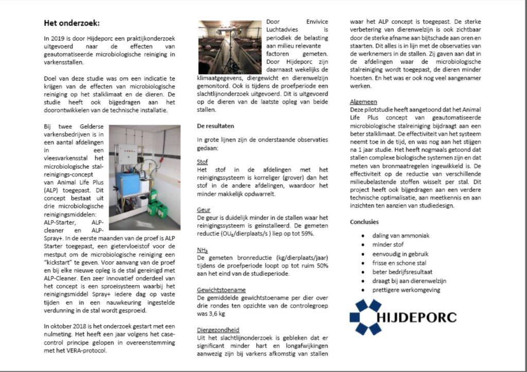 Resultaten van een praktijkproef naar de effecten van geautomatiseerde microbiologische reiniging in varkensstallen.